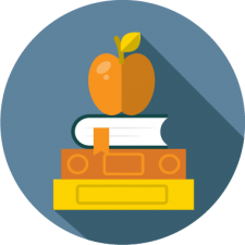 graphic icon of books and apple to depict before and after care online registration software