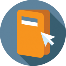 graohic icon of brochure to depict online catalogs for online registration