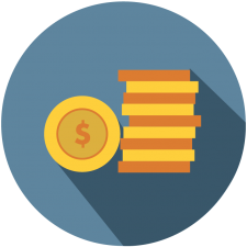 Graphic icon of stack of money to represent finance for rec software