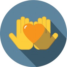 graphic icon depicting hands and a heart to represent donations capability for recreation software